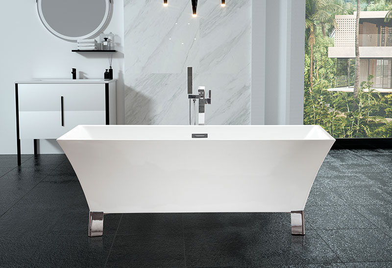67 Inch Freestanding Acrylic Soaking Bathtub With Feet