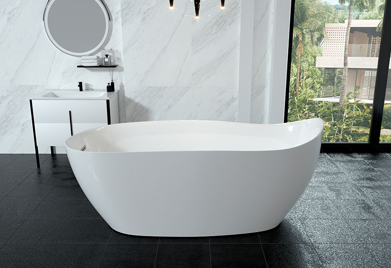 69 Inch Large Freestanding Acrylic Soaking Bath Tub