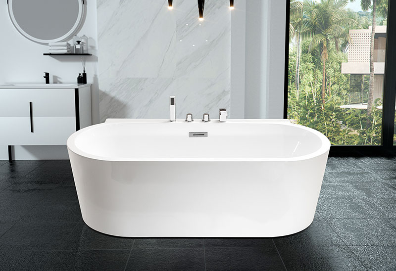 67 Inch Oval Shaped Acrylic Freestanding Bathtub