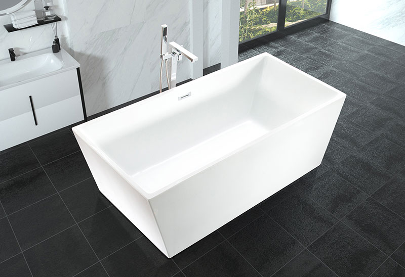 60 67 inch Acrylic Square Freestanding Movable Bathtub