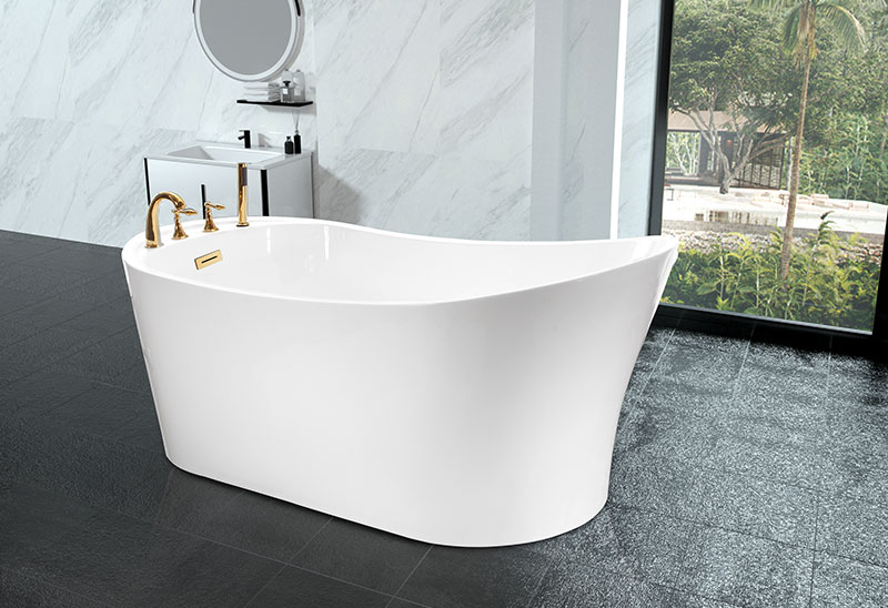 67 Inch Freestanding Acrylic Bathtub