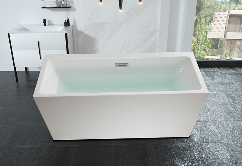 60 67 Inch Square Freestanding Soaking Acrylic Bathtub