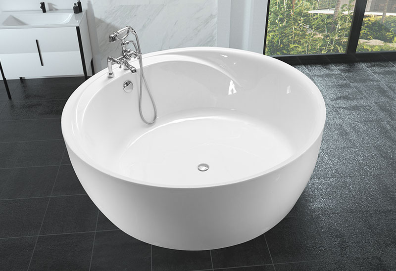 57 63 inch Large Indoor Freestanding Round Bathtub