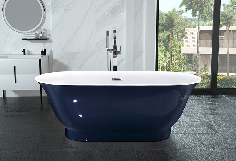 67 inch Acrylic Soaking Bath Tub Dark Blue