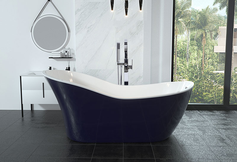 67 Inch Dark Blue Acrylic Freestanding Soaking Tub