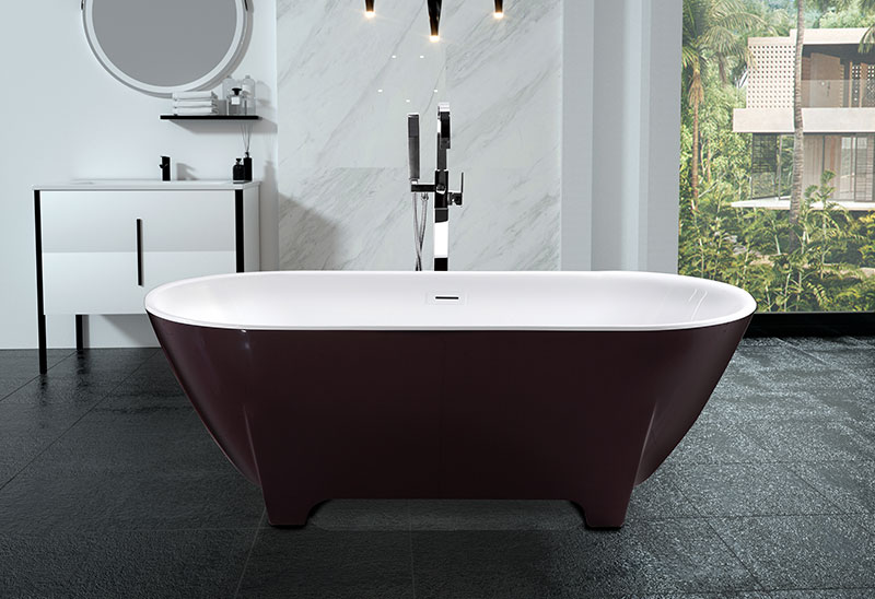 67 Inch Acrylic Freestanding Bathtub Black