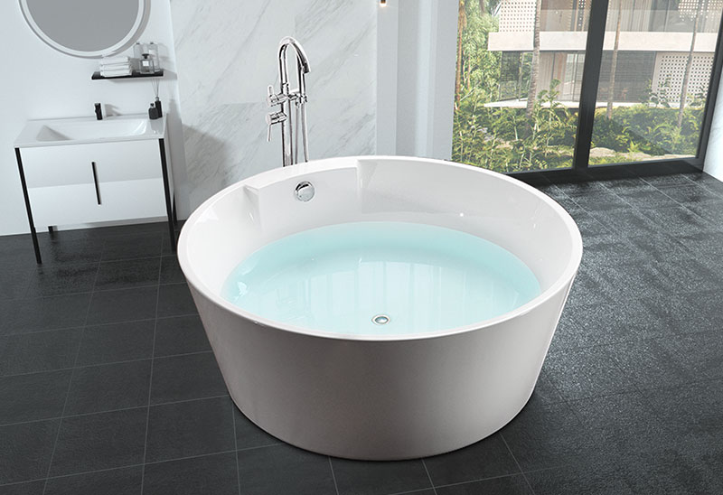 57 inch Indoor Round Acrylic Freestanding Bathtub