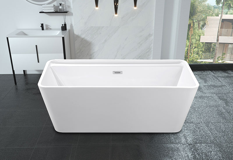 67 Inch Movable Square Freestanding Bathtub Acrylic
