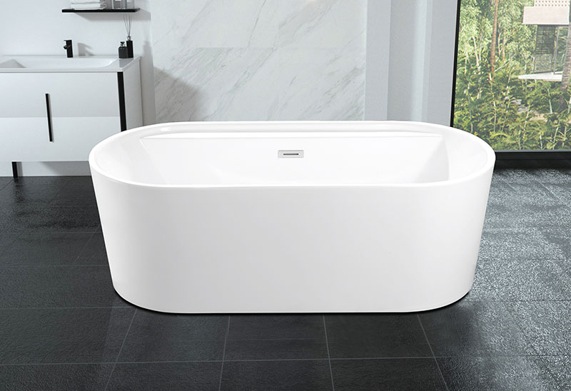 67 Inch Acrylic Oval Movable Freestanding Bathtub