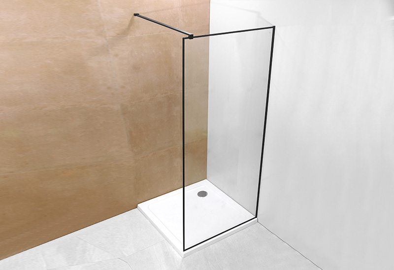 A20P-3 6/8mm Glass Walk In Shower Enclosure Black
