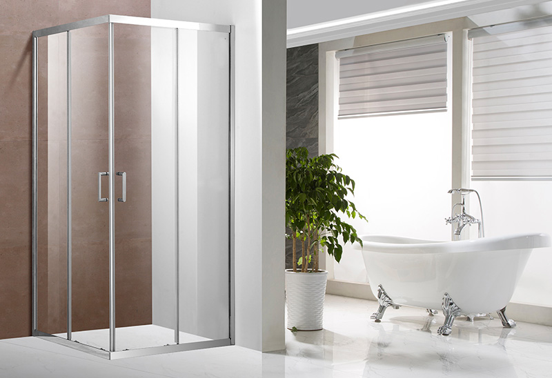 A1321 5/6mm Glass Stainless Steel Profile Square Sliding Shower Enclosure