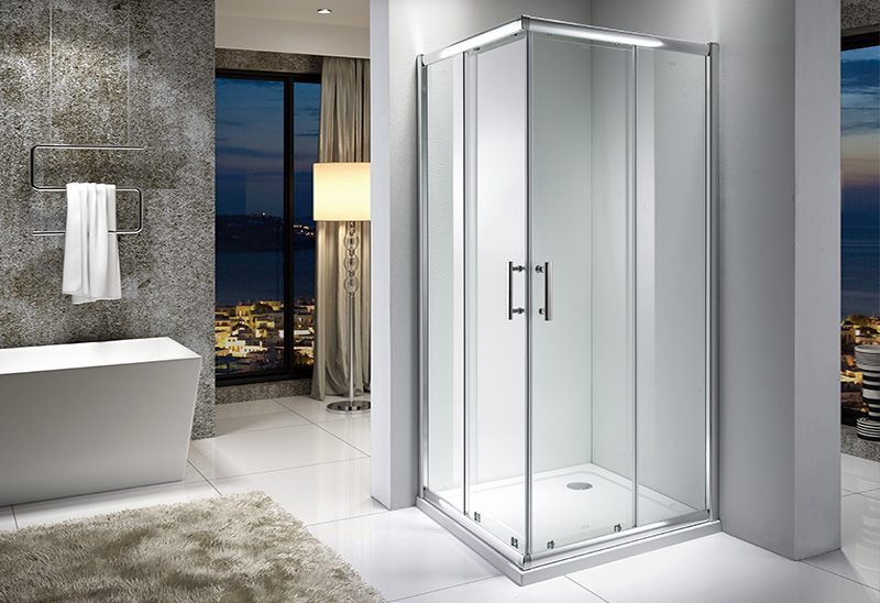 A9171 5/6/8mm Glass Door Square Sliding Shower Enclosure